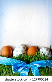 Easter eggs on the grass/Background  with easter eggs and  green grass