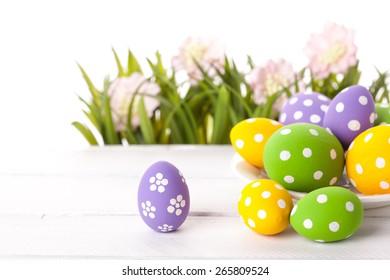 Easter eggs on green grass. Studio shot