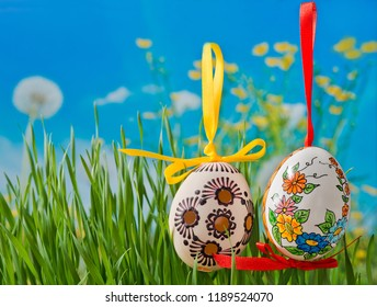 Easter eggs on the meadow in the springtime.