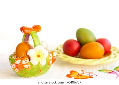 Easter eggs on a plate in easter basket