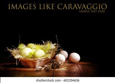 Easter eggs on table. Photo like Caravaggio