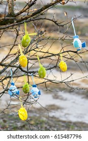 Easter eggs on a tree,Easter composition,Easter decoration