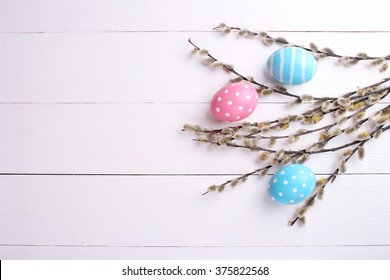 Easter. Easter eggs on a white background