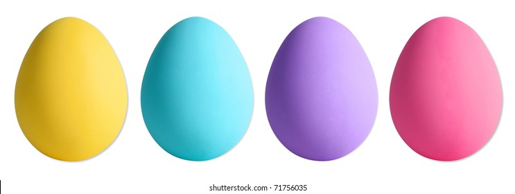 Easter Eggs on white with individual clipping paths
