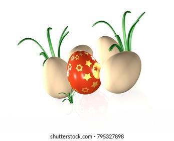 Easter eggs on white reflective background, 3D illustration.