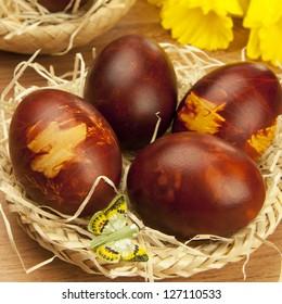 easter eggs on a wicker basket