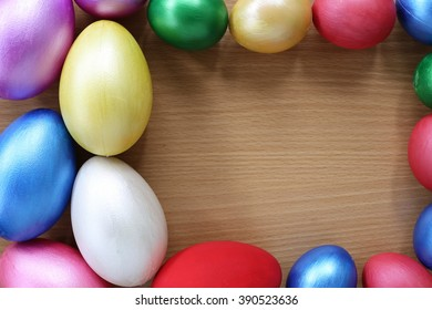 easter eggs on wood background,Handmade painted for design happy easter day.