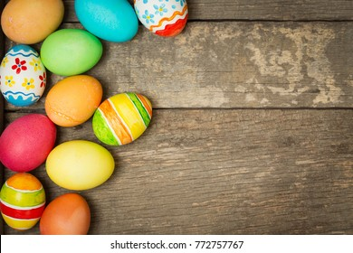 Easter eggs on wooden, Painted Easter eggs on old boards