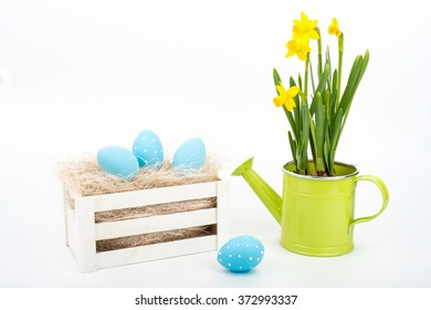 easter eggs over white background - selective focus, copy space