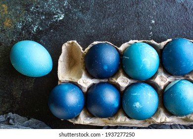 easter eggs painted blue, easter treat festive table rustic meal top view copy space for text food background