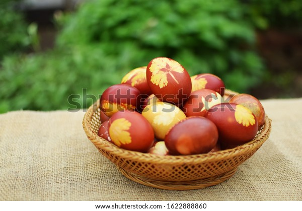 Easter eggs painted with boiled onion skins. Basket full of colorful Easter eggs. Close up of decorative Easter eggs