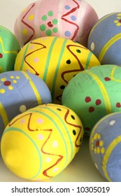 Easter eggs painted by hand, multicolored