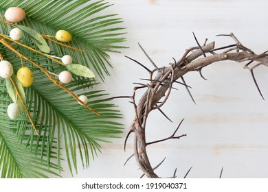 Easter eggs, palms and crown of thorns