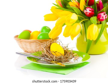 Easter eggs in a plate, on a white background