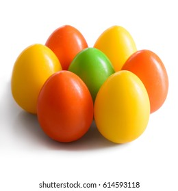 Easter eggs postcard for Christian seasonal holiday Isolated on white
