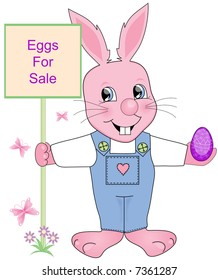 Easter Eggs for sale sign being held be the Easter Bunny.