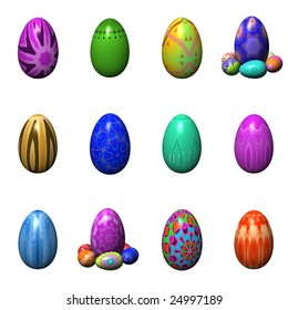 easter eggs set isolated on the white background