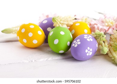 Easter Eggs with Spring Flowers. studio shot