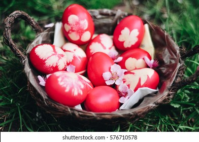 Easter eggs, spring landscape, colorful