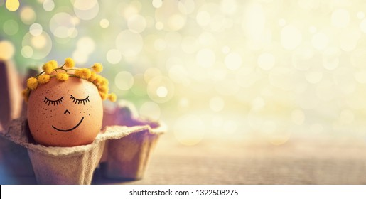 Easter eggs in springtime, Easter background, calm and spiritual