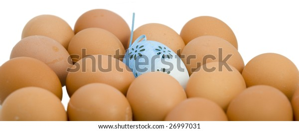 Easter eggs and white backgrounds