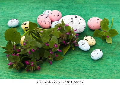 Easter eggs  and  wild  flowers  on green wooden background
