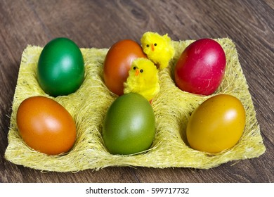 easter eggs in yellow basket with baby chickens.Easter decoration
