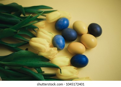 The Easter eggs with yellow tulips on yellow background