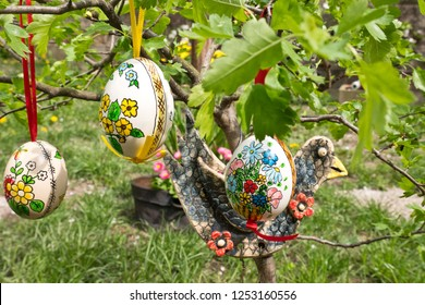 Easter egss hanging on the twig in the garden