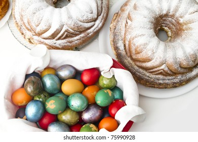 Easter Feast with eggs, ham and cake potica