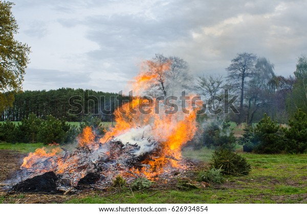 Easter fire in rural Europe