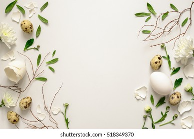 Easter floral background, various eggs end egg shell decorated with natural botanical elements, flat lay, view from above, blank space for greeting text