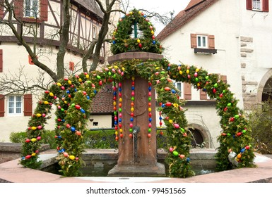 easter fountain. traditional german easter eggs outdoor decoration. Osterbrunnen.