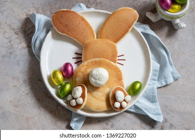 Easter funny bunny pancakes with chocolate eggs
