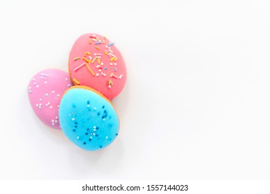 Easter gingerbreads on white background. Easter sweets fo celebrate.