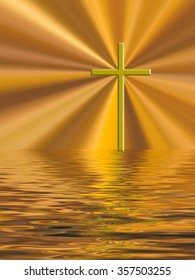 Easter glory gold cross over water.  Christian background.  Filtered photo composite image.