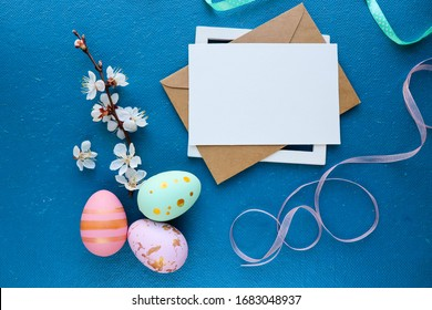 Easter greeting card design. easter background. pussy-willow twigs and colorful Easter eggs