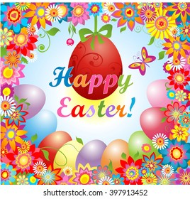 Happy easter greeting card colorful easter stock vector 2018 easter greeting with flowers and hanging egg m4hsunfo