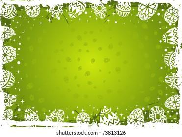 Easter grunge frame with eggs, element for design,  illustration