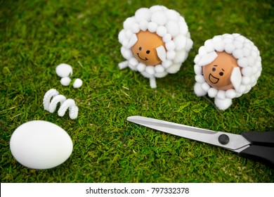 Easter handicraft ideas with eggs and cotton balls, diy and selfmade for the spring season