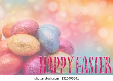 Easter header, background, with Mini easter eggs on a pretty background. Great for social media campaigns.