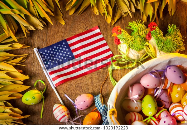 Easter Holiday America Easter Eggs Usa Stock Photo (Edit Now
