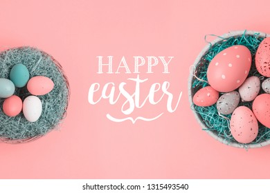 Easter holiday background with easter eggs in basket decorations. Top view from above. Flat lay
