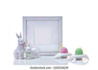 Easter holiday concept luxury frame mockup