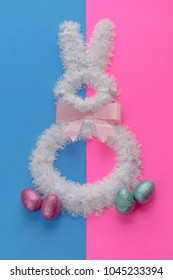 Easter holiday decorations on bright duo tone colors