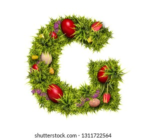 Easter holiday letter G made of fresh green grass and Easter eggs isolated on white background
