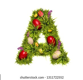 Easter holiday letter A made of fresh green grass and Easter eggs isolated on white background