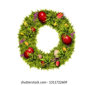 Easter holiday letter O made of fresh green grass and Easter eggs isolated on white background