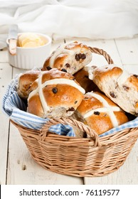 Easter Hot Cross Buns in a Basket