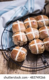 Easter hot cross buns on cooling tray